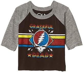 Chaser Grateful Dead Skull Stripes Baseball Raglan Tee (Toddler/Little Kids) (Union Black/Streaky Grey) Girl's Clothing