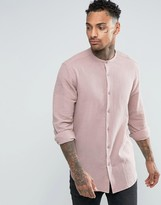 Asos Regular Fit Shirt In Dusty Pink With Grandad Collar