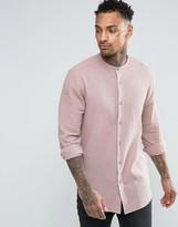 Asos Regular Fit Shirt With Grandad Collar In Dusty Pink