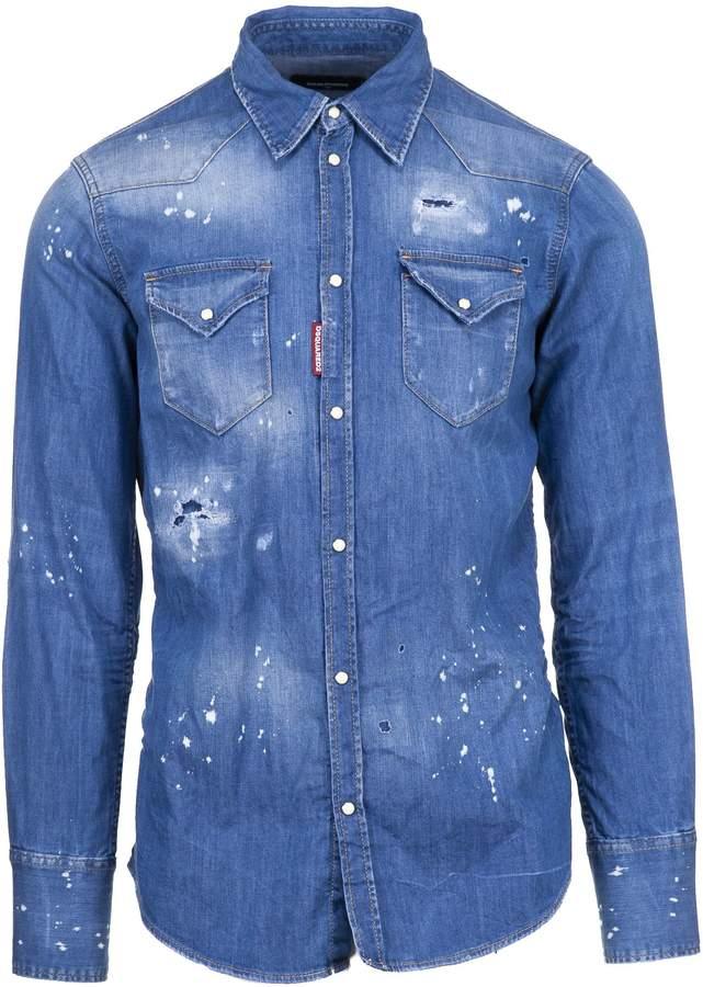 DSQUARED2 2 Distressed Denim Shirt