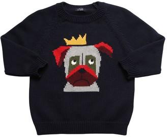 Il Gufo Dog Intarsia Cotton Knit Sweater