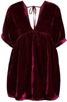 Free People Ivy Dark Red Velvet Mini Dress