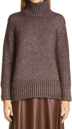 Lafayette 148 New York Chunky Metallic Cashmere Blend Turtleneck Sweater