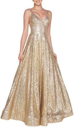 Mac Duggal Sequined V-Neck Sleeveless Ball Gown