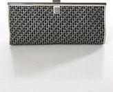 Christian Dior Black Silver Monogram Rectangular Clutch Handbag