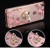 iPhone 7 Plus Case,PHEZEN Pink Flower Butterfly Bling Crystal Rhinestone Diamond Rose Gold Plating Frame Crystal Clear Back TPU Bumper Case with Ring Stand Holder Kickstand for iPhone 7 Plus 5.5""