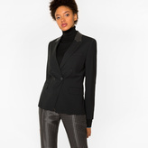 Paul Smith Women's Black Double-Breasted Wool Blazer With Contrast Collar