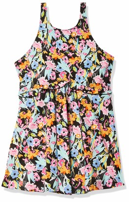 Fit 4 U Women's Plus Size Summer Breeze high Neck Babydoll Swim Dress with Ruffle