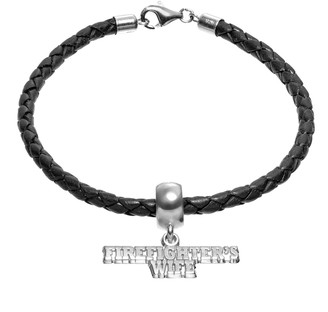 """Insignia Collection Sterling Silver & Leather """"Firefighter's Wife"""" Charm Bracelet"""