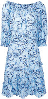Saloni floral gathered dress - women - Silk - 10