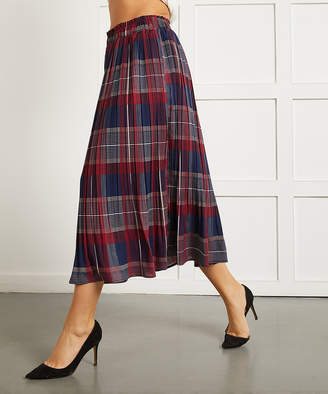 Suzanne Betro Women's Casual Skirts 101BLACK/TAN - Navy & Red Plaid Release Pleat Skirt - Women & Plus