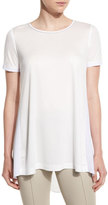 St. John Metallic-Trim Draped Tee, Bianco