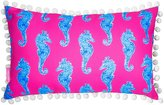Lilly Pulitzer Horsin Around Pom Pom-Trimmed Seahorse Canvas Indoor/Outdoor Pillow