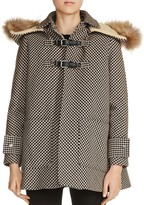 Maje Galou Real Fur Trim Houndstooth Coat
