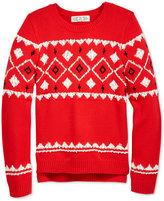 Pink Republic Fair Isle Knit High-Low Sweater, Big Girls (7-16)