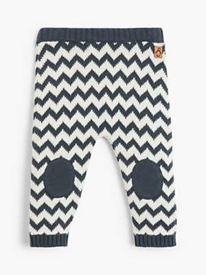 John Lewis & Partners Baby Chevron Knitted Leggings, Charcoal