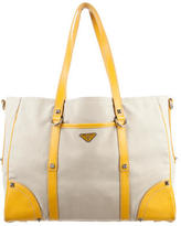 Prada Leather-Trimmed Woven Tote