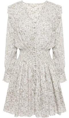 Maje Roseau Ruffled Shirred Printed Cotton-gauze Mini Dress