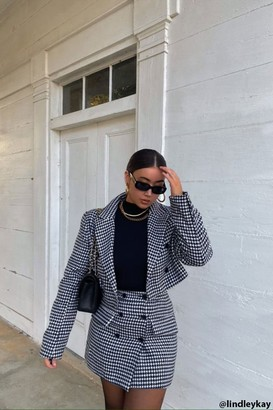 Forever 21 Houndstooth Double-Breasted Blazer