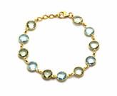 Tresor Collection - Blue Topaz Round & Green Amethyst Round Bracelet In 18K YG