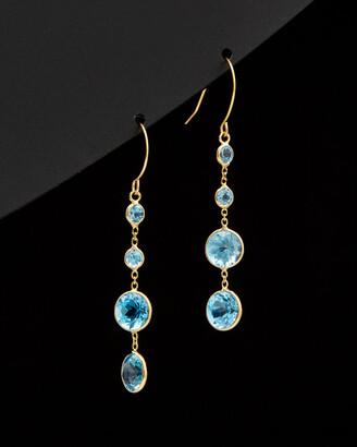 Italian Gold 14K Blue Topaz Wire Earrings