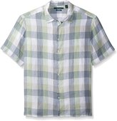 Perry Ellis Men's Big-Tall Buffalo Check Linen Shirt