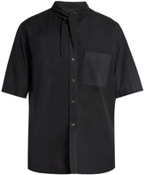 BY WALID Tie-neck short-sleeved cotton shirt