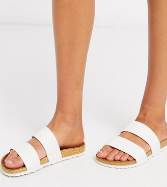 Asos Design DESIGN Wide Fit Fraser double strap mule sandals in white