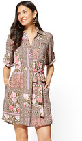 New York & Co. Popover Shirtdress - Floral & Graphic Print