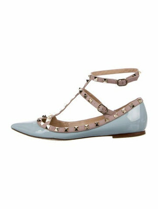 Valentino Rockstud Accents Patent Leather Flats Blue