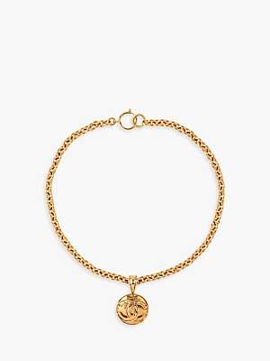 Susan Caplan Vintage Chanel Gold Plated Round Pendant Necklace, Gold