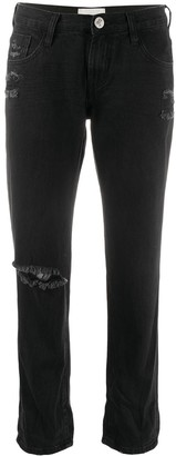 One Teaspoon Cropped Straight-Leg Jeans