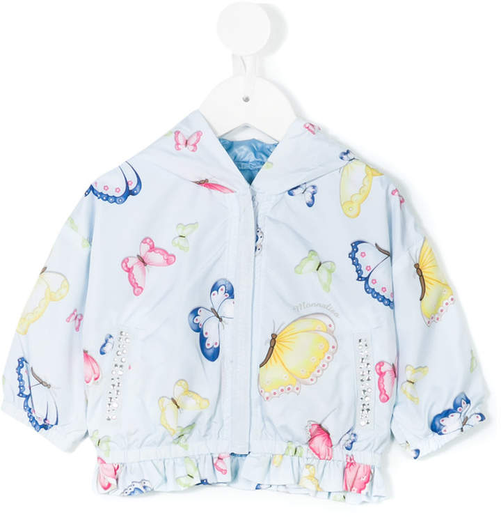MonnaLisa butterfly print hooded jacket