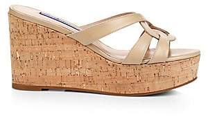 Stuart Weitzman Women's Cadence Cork & Leather Platform Wedge Sandals