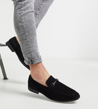 ASOS DESIGN Wide Fit loafers in black faux suede with snaffle