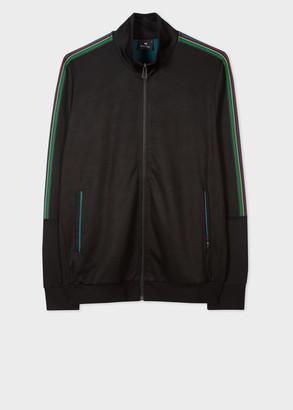 Paul Smith Men's Black Cotton-Blend Track Top With 'Sports Stripe' Details