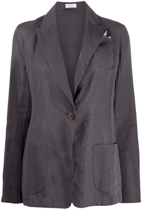 Brunello Cucinelli One-Button Silk Blazer