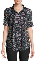 Style And Co. Petite Printed Button Cuff Shirt