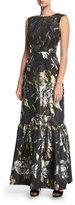 Trina Turk Metallic Rose Long Jacquard Evening Gown