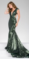 Jovani V-Shape Sheer Illusion Cutout Sequin Prom Gown