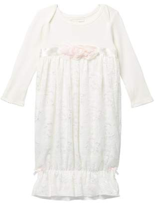 Miniclasix Long Sleeve Lace Gown (Baby Girls)