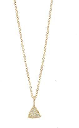 Bony Levy 18K Yellow Gold Diamond Petite Triangle Pendant Necklace - 0.04 ctw