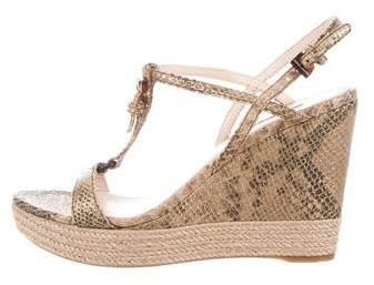 Prada Snakeskin Espadrille Wedge Sandals