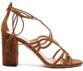 Aquazzura Gitana 85 Block-heel Suede Sandals - Womens - Tan