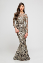 Terani Couture 1723E4289 Long sleeves Gilded Leaves Embroidered Gown