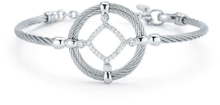 Alor Open Diamond-Station Cable Bracelet, Gray