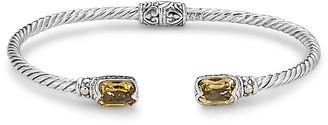 Samuel B. 18K & Sterling Silver 3.25 Ct. Tw. Citrine Twisted Cable Bangle Bracelet