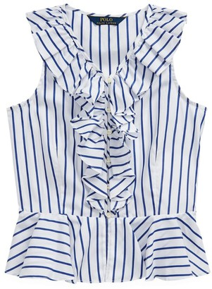 Ralph Lauren Kids Striped Ruffle Top (7-16 Years)
