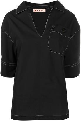 Marni contrast stitching polo blouse