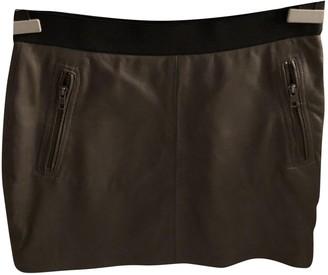 Maje Khaki Leather Skirt for Women